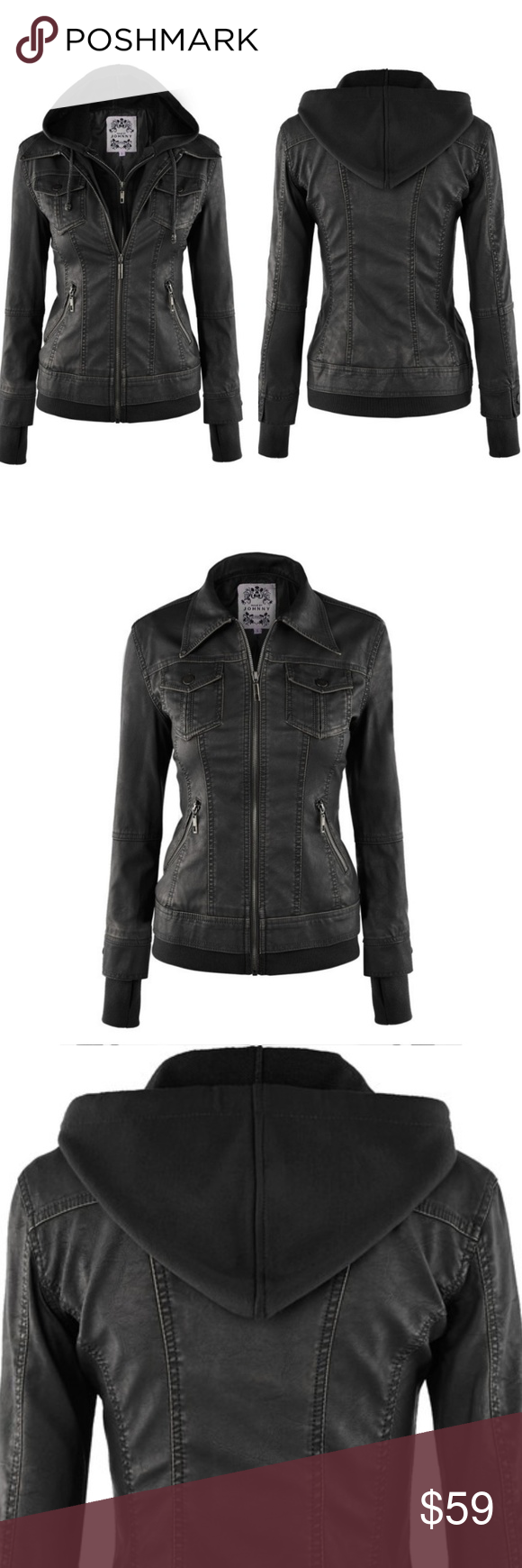 Hooded Faux Leather Moto Jacket Hooded faux, Faux