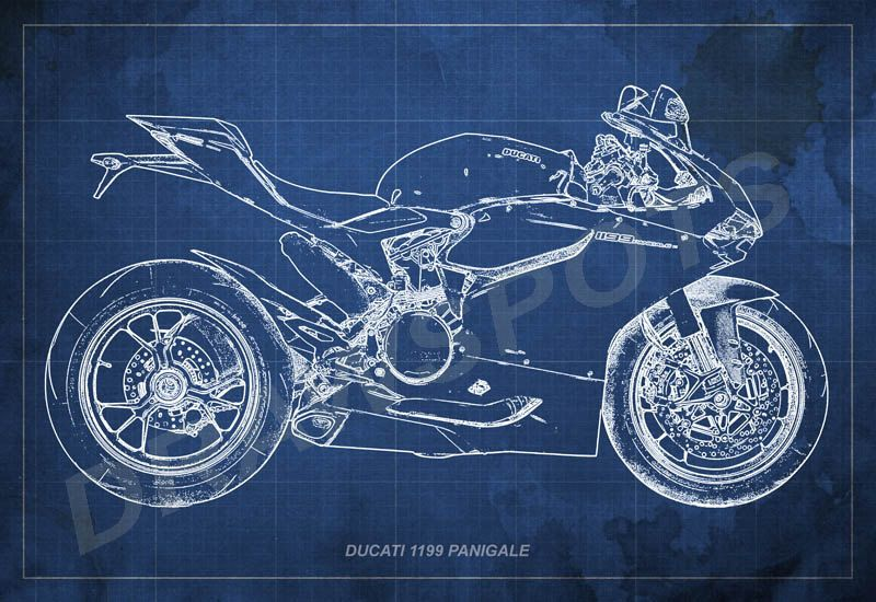 Ducati 1199 panigale blueprint art print 8x12in to 60x41in ducati 1199 panigale blueprint art print 8x12in to 60x41in motorcycle art print big size print large wall print office decor malvernweather Images