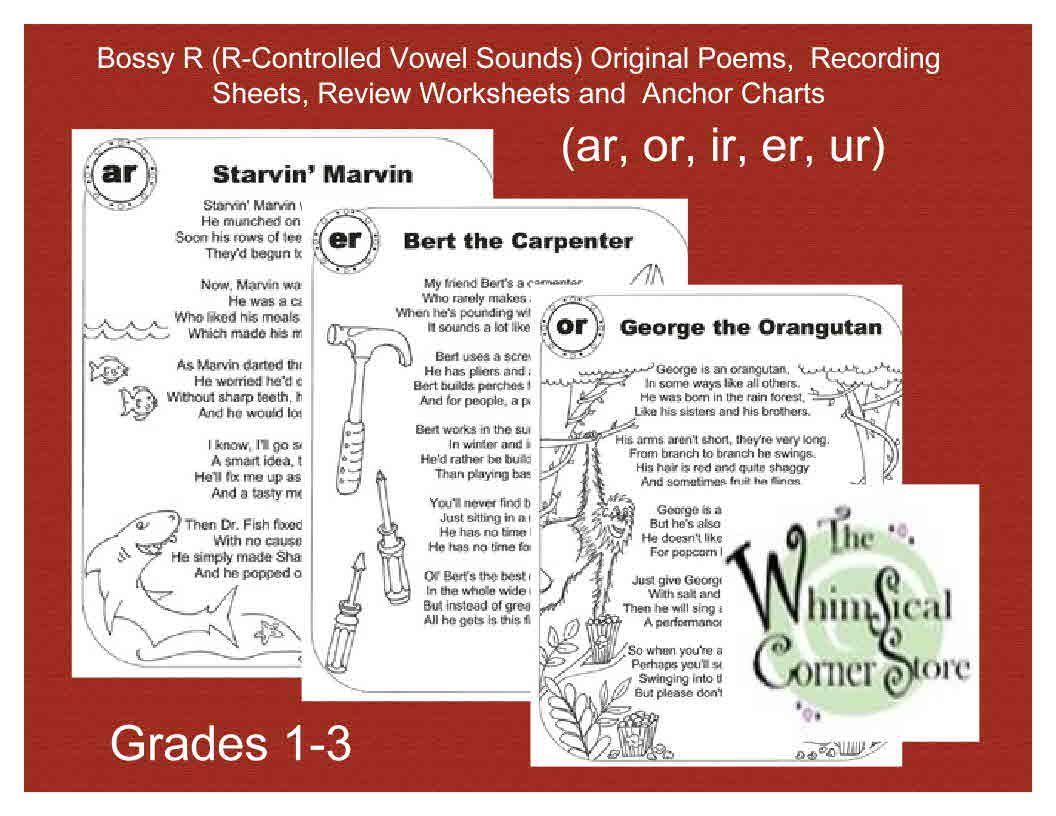 Workbooks ur worksheets : Bossy R (R-Controlled Vowel Sounds) Original Poems and Worksheets ...