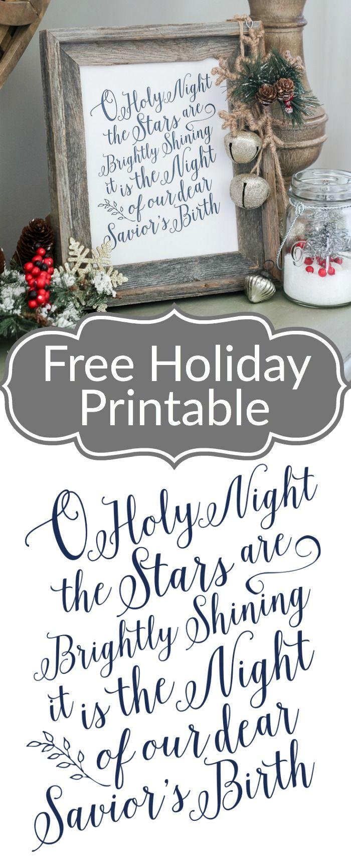 O Holy Night Free Printable | ☆ Hometalk: DIY Christmas ...