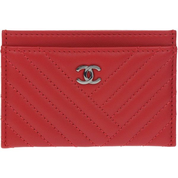 Pre-owned Chanel Red Lambskin Leather CC Crossing Card Holder ($595) ❤ liked on Polyvore featuring bags, wallets, chanel wallet, chanel, red wallet, card carrier wallet and lamb leather bag
