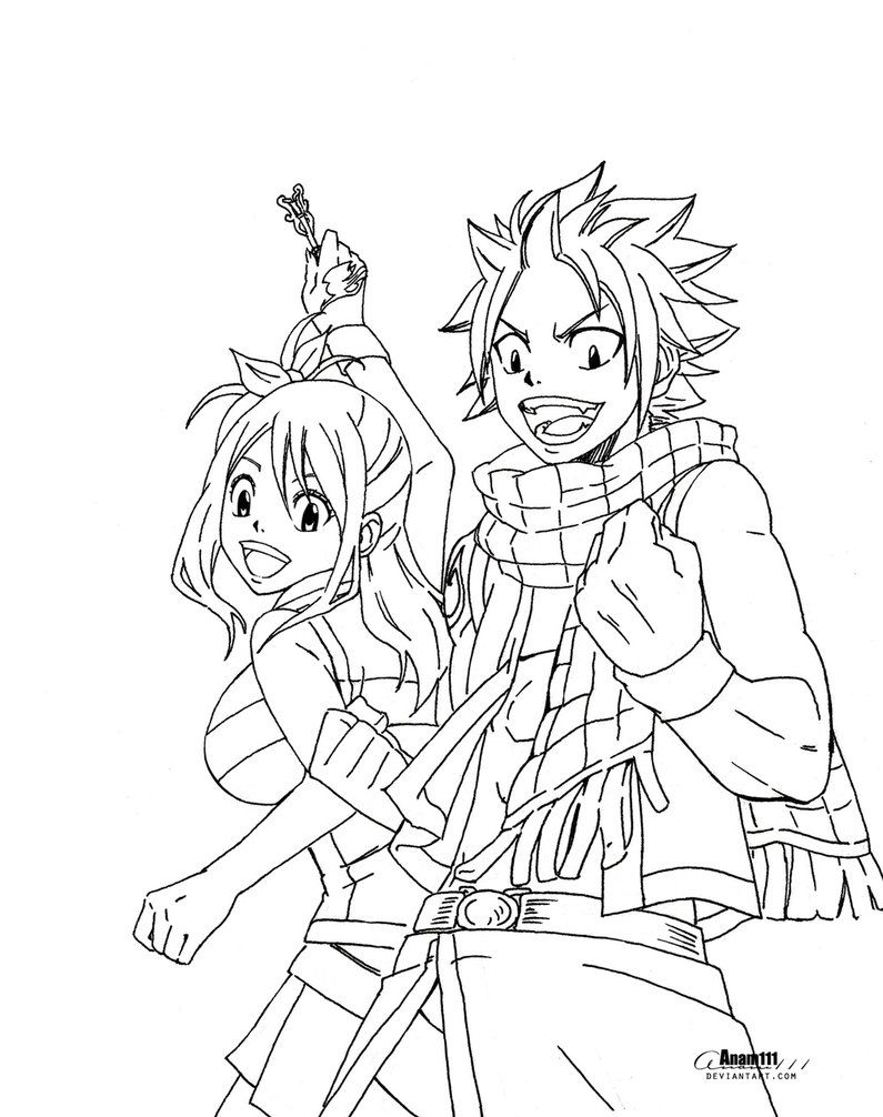 Natsu And Lucy No Coloring By Anam111 Lineart Fairy