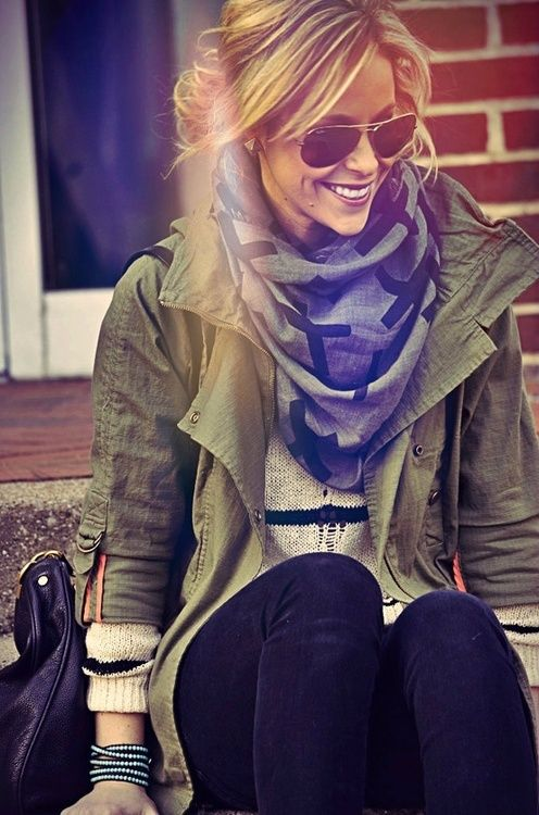 army jacket cross scarf Fashion Inspiration | Hot fashion and you
