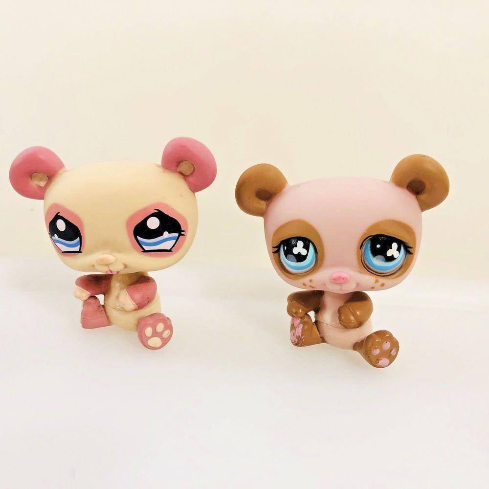 Littlest Pet Shop Panda Bear Lot 1328 Pink Brown 645 Purple Clover Eyes Hasbro Littlest Pet Shop Little Pets Pet Shop
