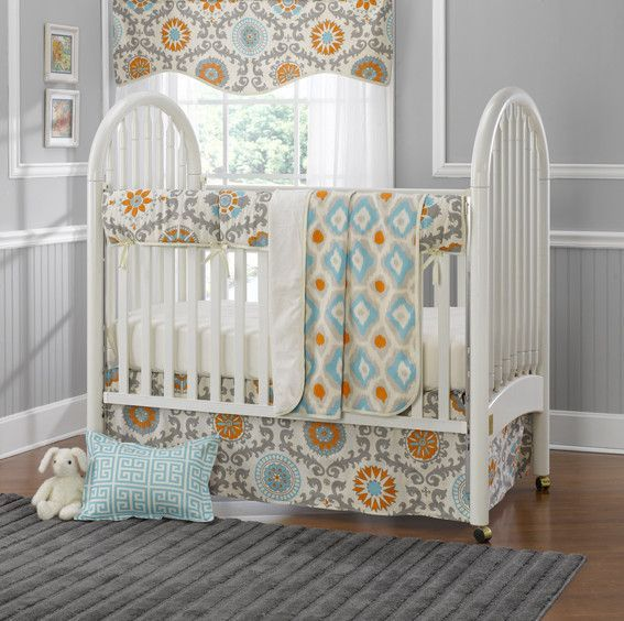 Orange Crib Bedding Damask Baby For S Liz And Roo Fine