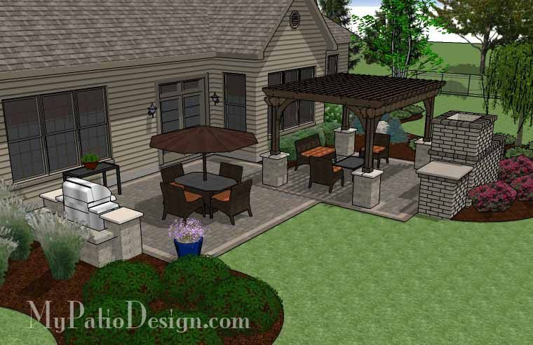 Simple Patio Design With Pergola Fireplace And Grill Station 630 Sq Ft Installation Plan How To Aterial List Mypatiodesign