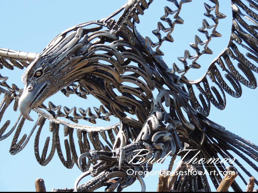 Eagle large life sized sculptures oregon horseshoe art for Horseshoe crafts for sale
