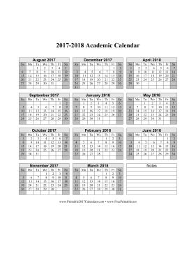 2017 2018 academic calendar calendar