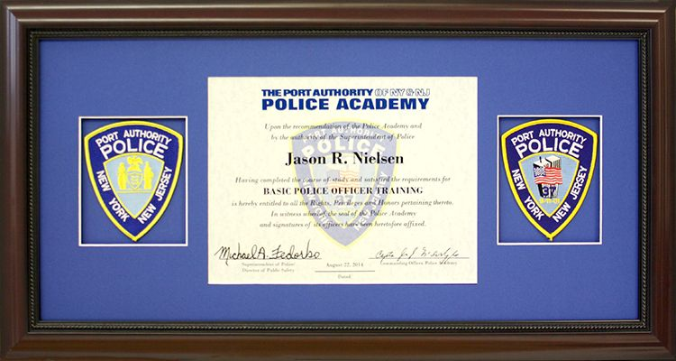 Port Authority Police Academy diploma and coordinating patches