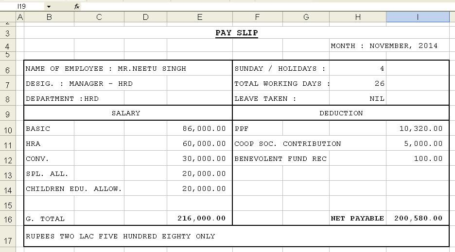 Download Sample of Salary Slip in Excel Format | Project Management ...