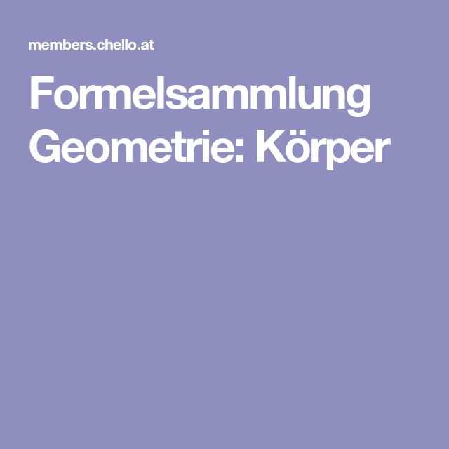 formelsammlung geometrie k rper mathematik ab 5 klasse. Black Bedroom Furniture Sets. Home Design Ideas