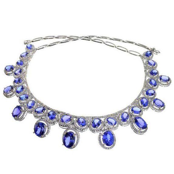 APP: 109k *14kt White Gold Tanzanite & Diamond Necklace : Lot 287A