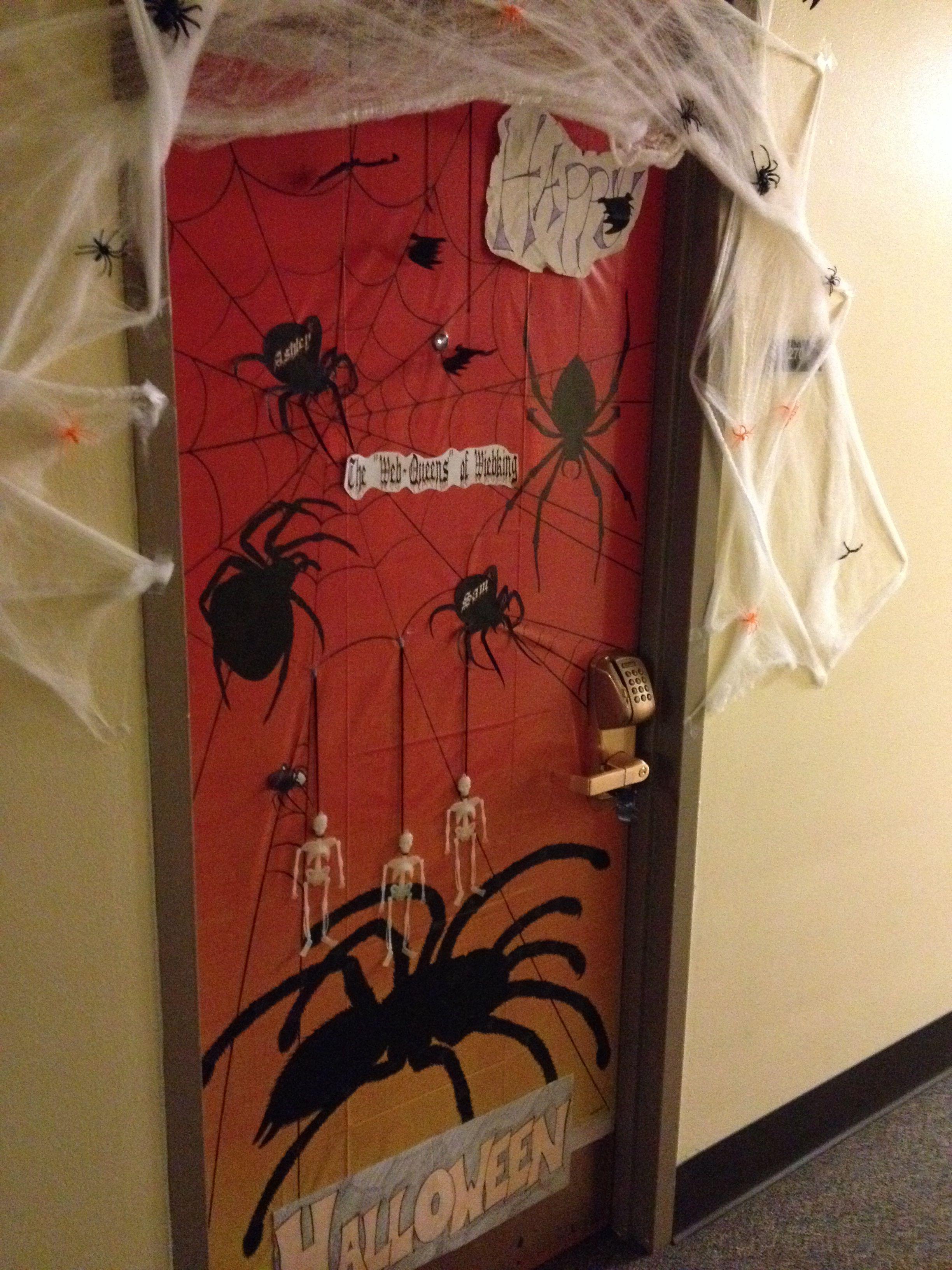 Halloween dorm decorations! Dorm room doors, Halloween