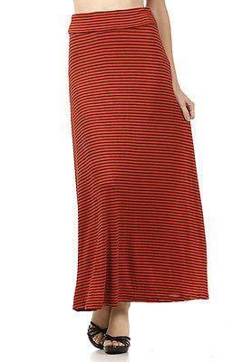 Striped Rayon Draped JERSEY MAXI LONG SKIRT Folded Waist Full Length Flare Skirt
