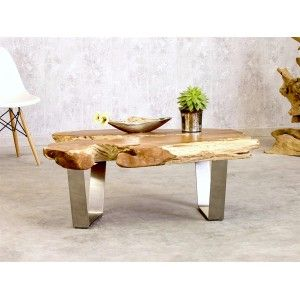 Erstaunlich Couchtisch Massivholz Teak Edelstahl Design