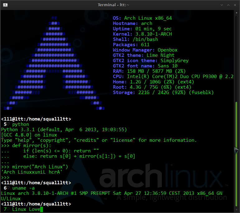 Arch Linux Terminal | Code Learning | Linux, Arch, Font names