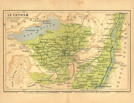 Fayoum Vintage Map Egypt Lake Karoun By CarambasVintage - Map of fayoum egypt