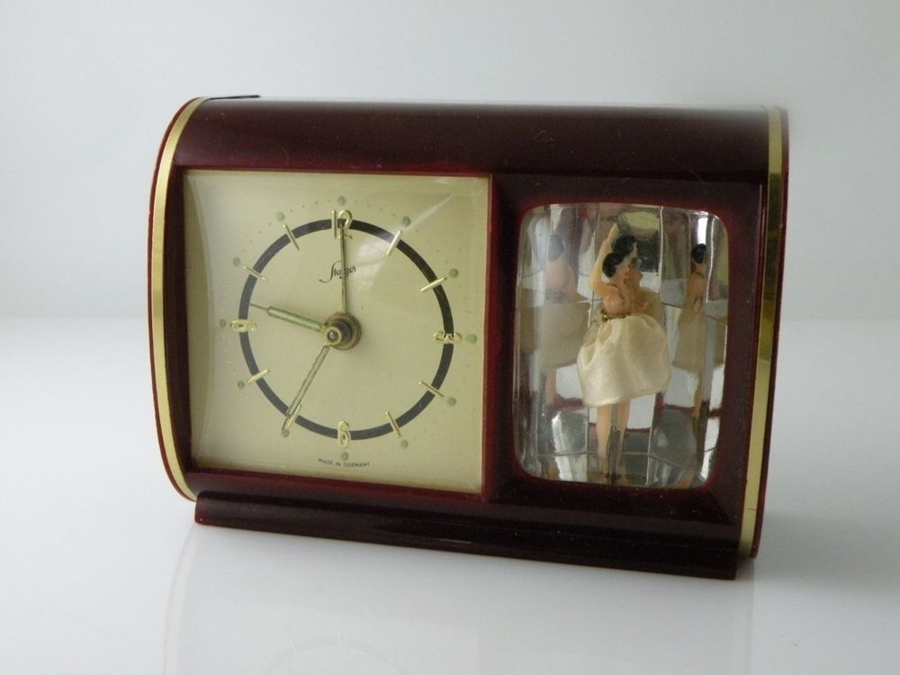 Vintage Music Alarm Clock Dancing Ballerina Reuge Music Box Look Television Clock Vintage Music Music Box