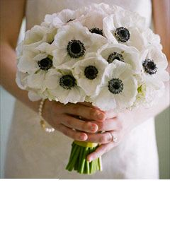 Sleek And Sophisticated Black And White Wedding Reception Ideas Anemone Wedding White Wedding Bouquets Wedding Flower Inspiration