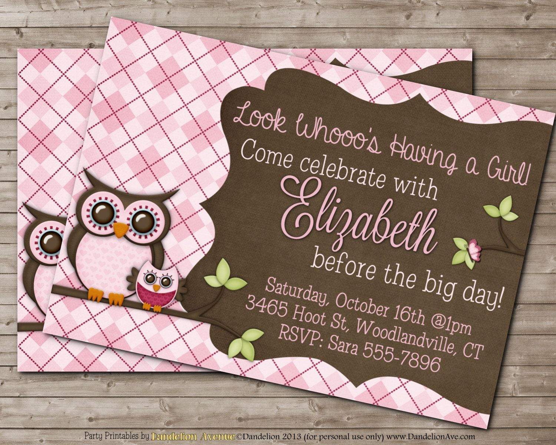Printable+OWL+Baby+Shower+Invitation+for+Girl++CUSTOM+by+DandeAve,+$ ...