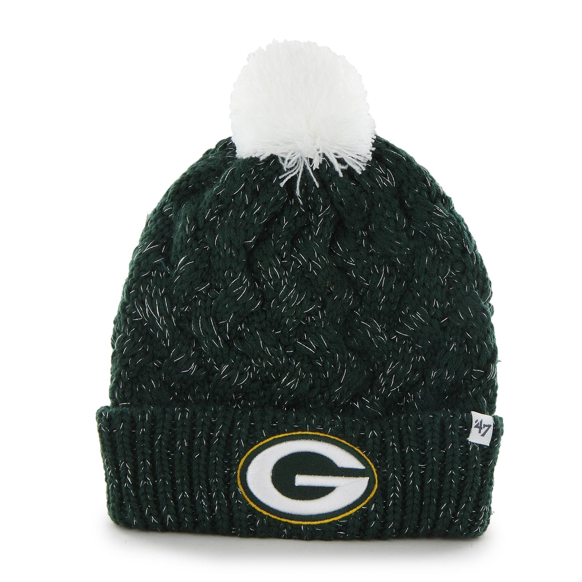 Green Bay Packers 47 Brand Womens Fiona Cuff With Pom Knit Beanie Green Green Bay Packers Hat Green Bay Packers Clothing Packers Womens