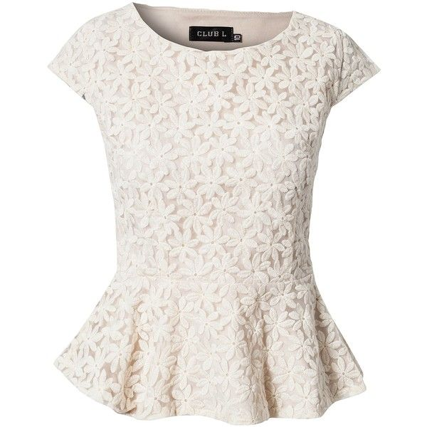 d3abaf73023 Club L Flower Lace Peplum Top found on Polyvore featuring polyvore,  fashion, clothing, tops, blouses, shirts, blusas, cream, cream blouse and  shirts
