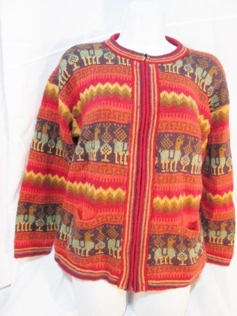 Incan Ethnic Peruvian Sweater One Size Peru Women/'s Alpaca Multicolor Hoodie