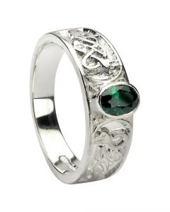 Silver Celtic Knot Ring set with CZ Emerald