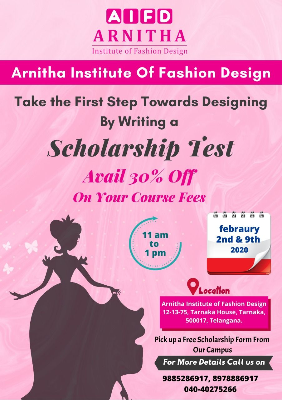 Take The First Step Towards Designing By Writing A Scholarship Test Arnitha Institute Of Fashion Design Avail In 2020 Fashion Design Scholarships Take The First Step