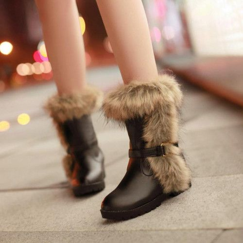 New Styles PU Artificial Short Villi Black Round Closed Toe Flat  Boots