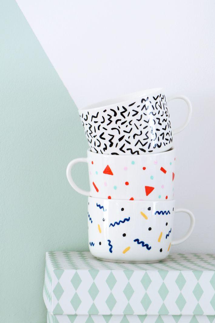 DIY Memphis Mugs For Fashionista Magazine Photography Marij - Diy creative painted mug
