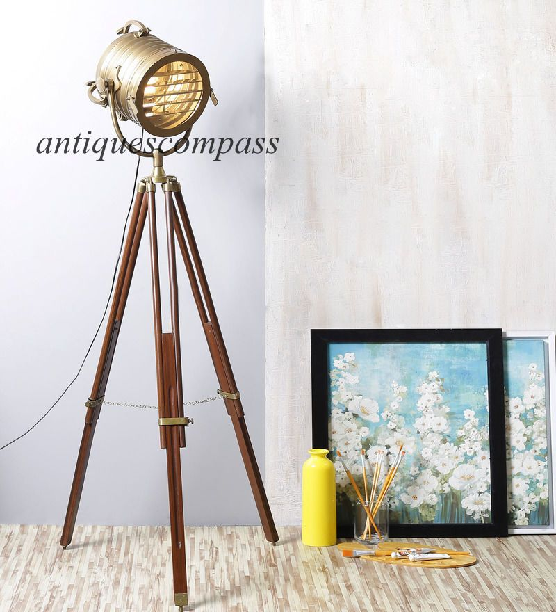 Designer Antique Brass Nautical Spot Light Tripod Floor Lamp Home