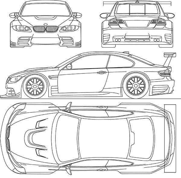 2009 BMW-M3-GTR - Blueprint Poster - - #CarsandMotorcycles ...