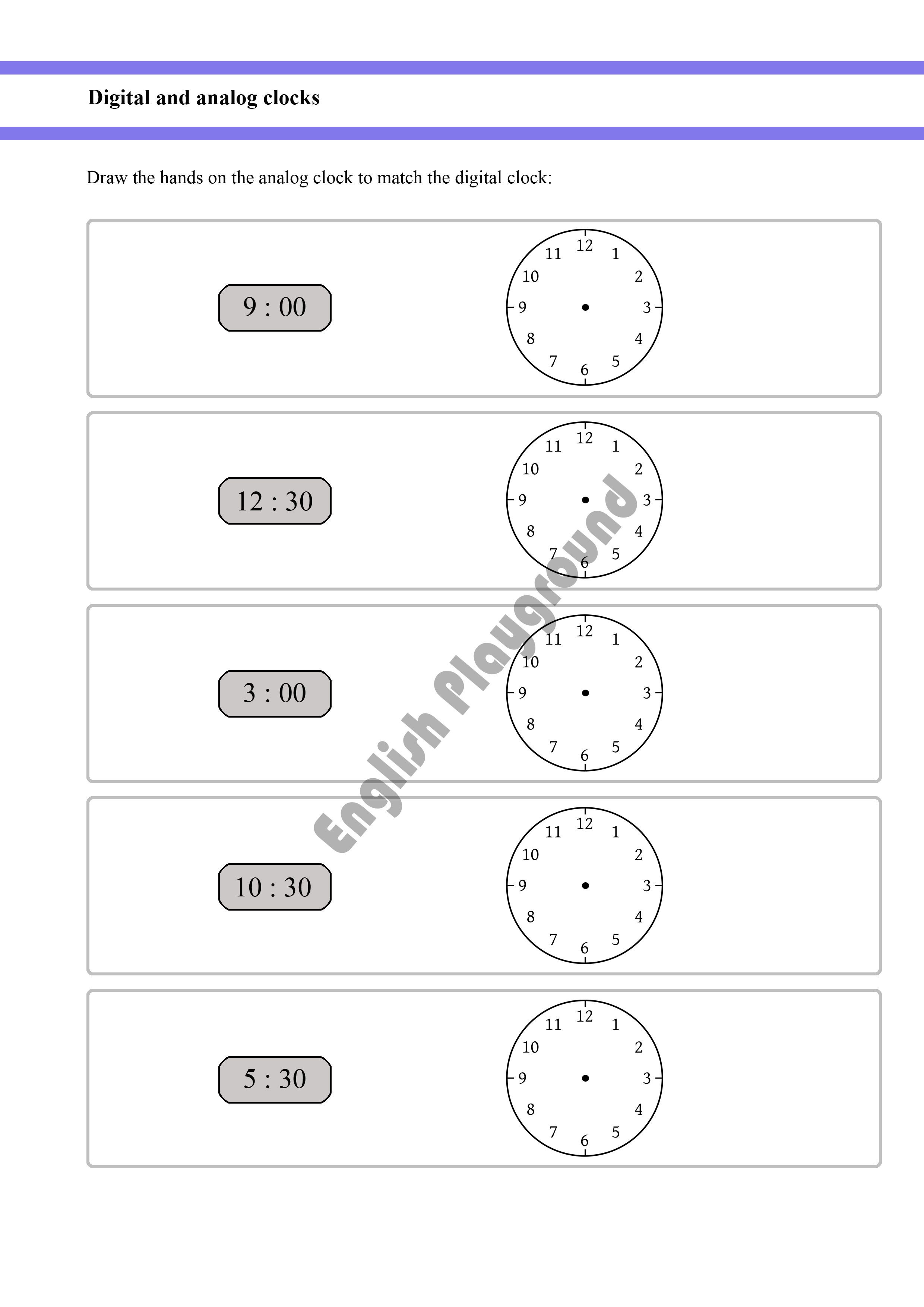 Telling The Time Digital And Analog Clocks For Year 1 And Year 2