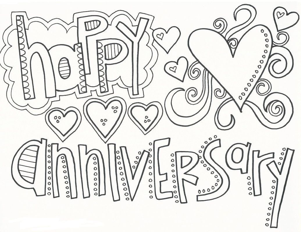 Happy Anniversary Coloring Pages In