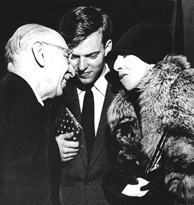 Igor Stravinsky, Jurij Moskvitin, and Karen Blixen/Isak Dinesen at the Copenhagen City Hall in 1959.