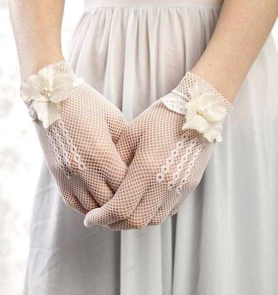 0a3c08d39 Lace Bridal Gloves by Little White Dresser