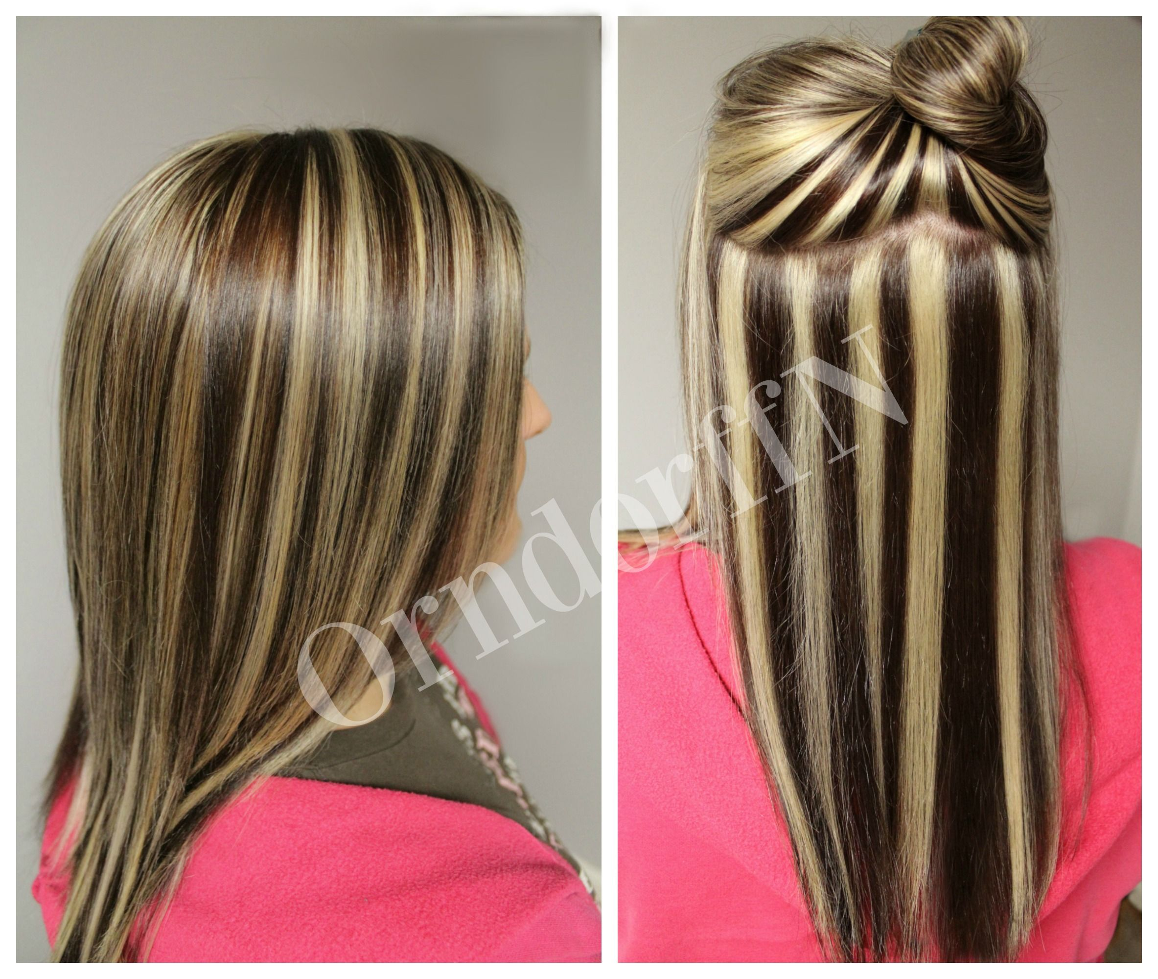 Dark brown with chunky blonde highlights | hair.. | Pinterest ...
