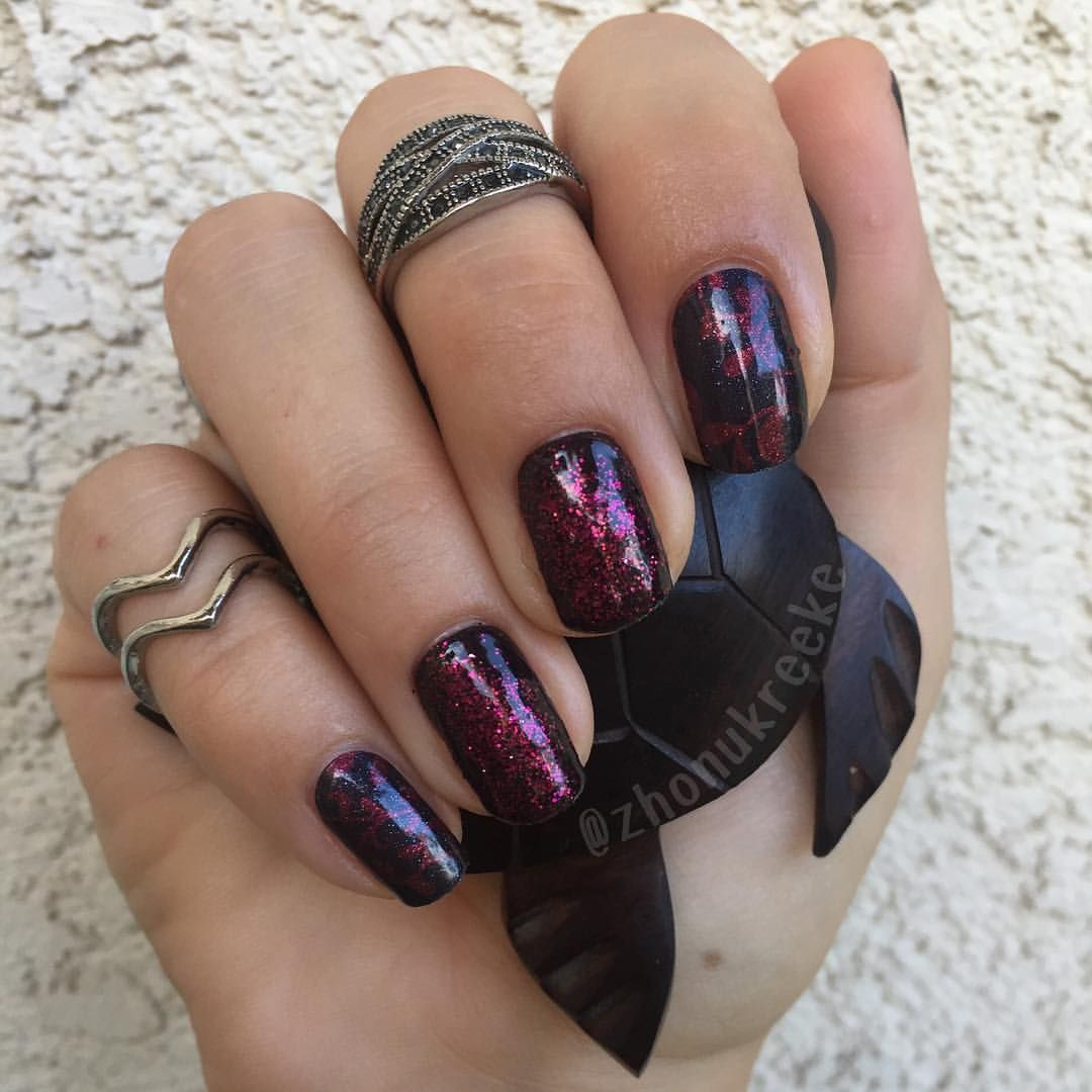Jamberry! eclipse of the Heart and Matte Black topped with Bordeaux ...