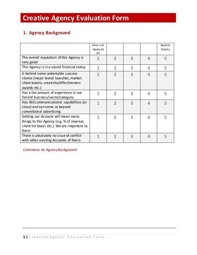 1 C r e a t i v e A g e n c y E v a l u a t i o n F o r m - sample presentation evaluation form example