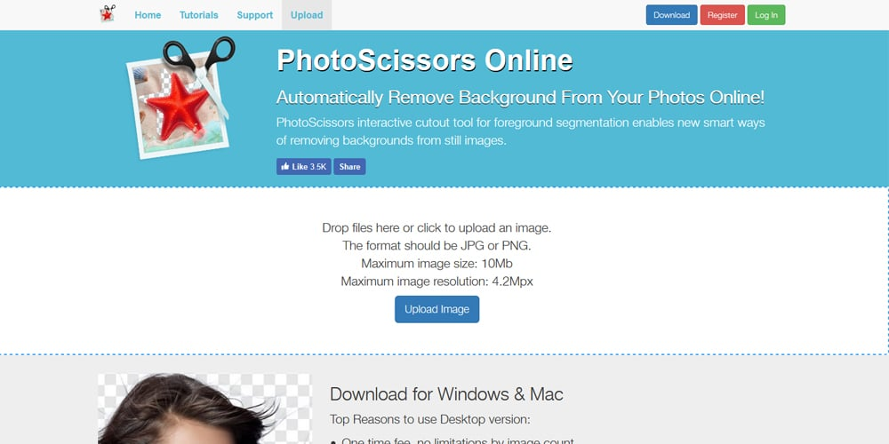 PhotoScissors Online Background remover, Background