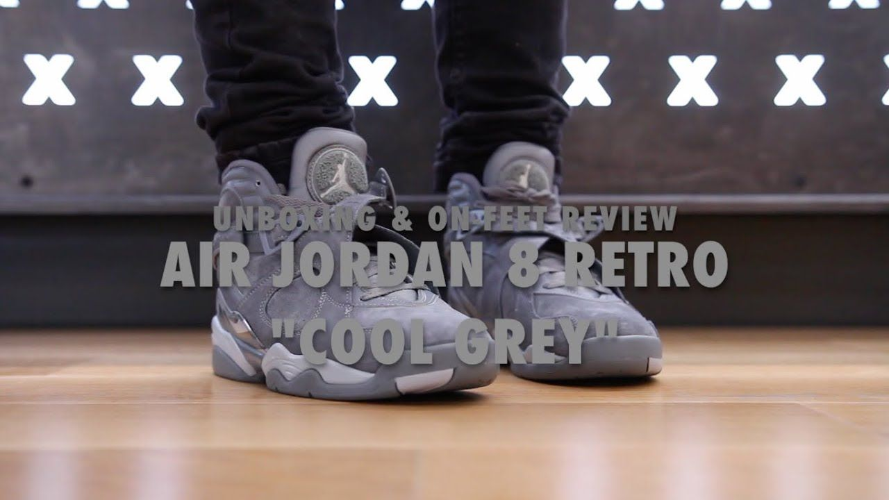 """huge selection of 34d57 6fe61 Air Jordan 8 Retro """"Cool Grey"""" Unboxing  amp  On feet Review Video at"""