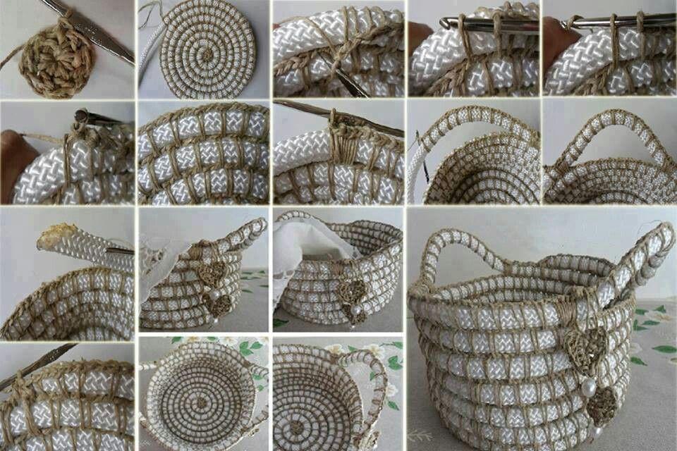 Mand Maken Haken Van Touw Manden Pinterest Crochet Crochet