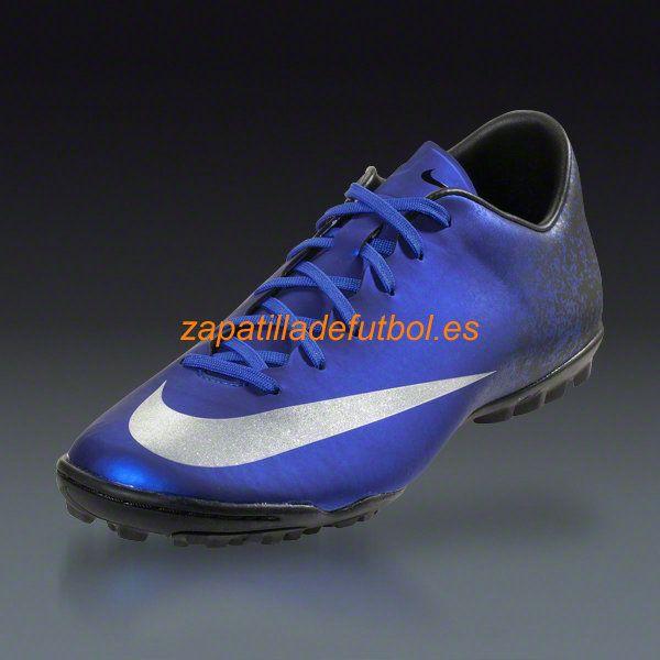 Caliente Zapatos de futbol Sala Nike Mercurial Victory V CR7 TF Plata Azul  Royal Corredor Azul Negro Metalico 412534b4d539a