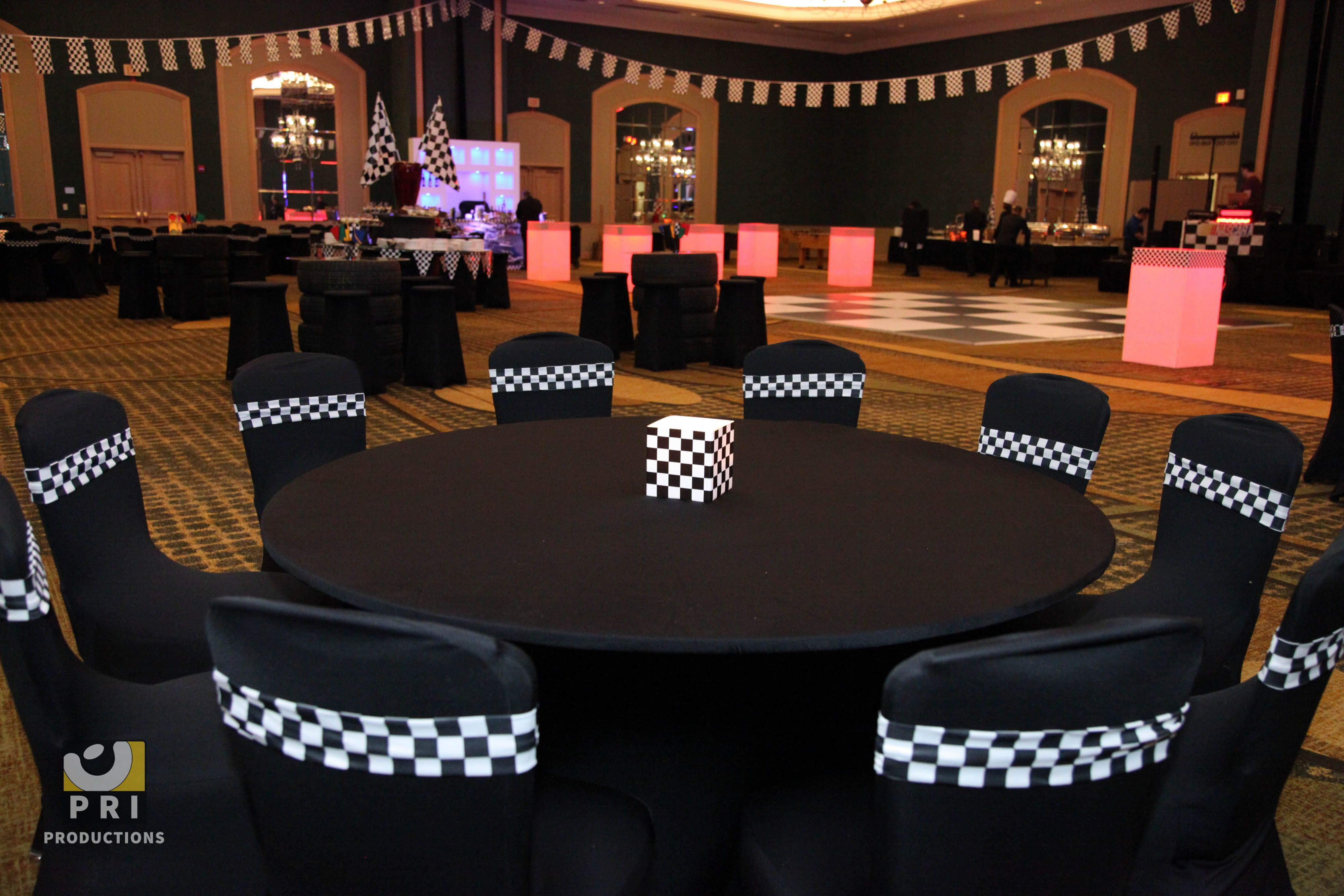 Racing Themed Decor Black Spandex Chair Covers And Checkered Spandex Chair Bands Race Car Party Race Car