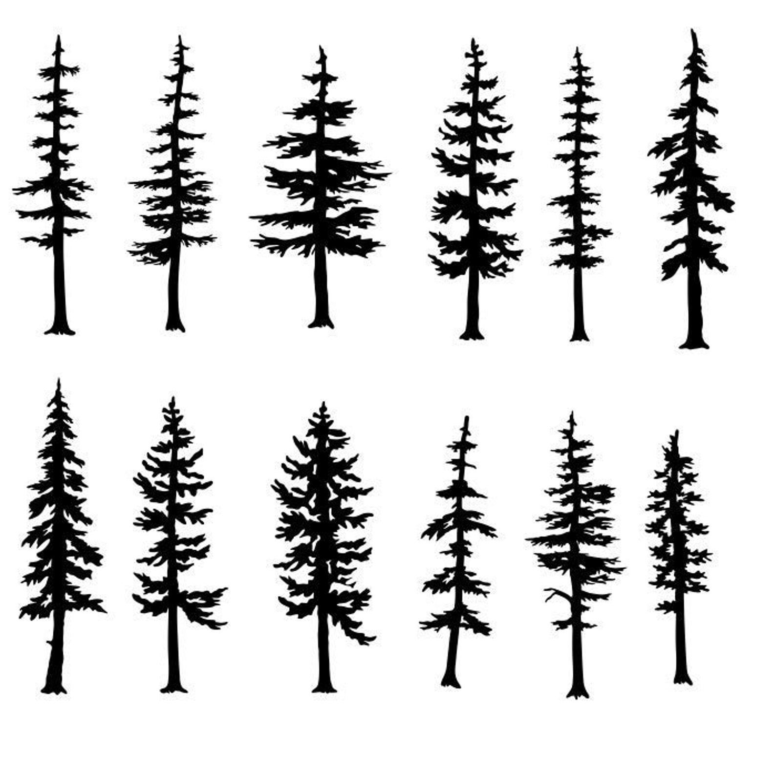 Trees Fir Evergreen Pine Clipart Silhouettes Eps Dxf Pdf Png Svg Files Plasma Cnc Clipart Cnc Dxf Eps Tree Silhouette Tattoo Pine Tattoo Tree Drawing