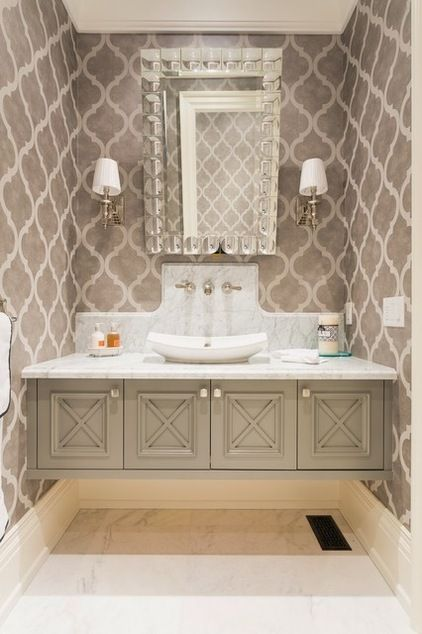 Beautiful floating powder room vanity home bathrooms for Beautiful washrooms