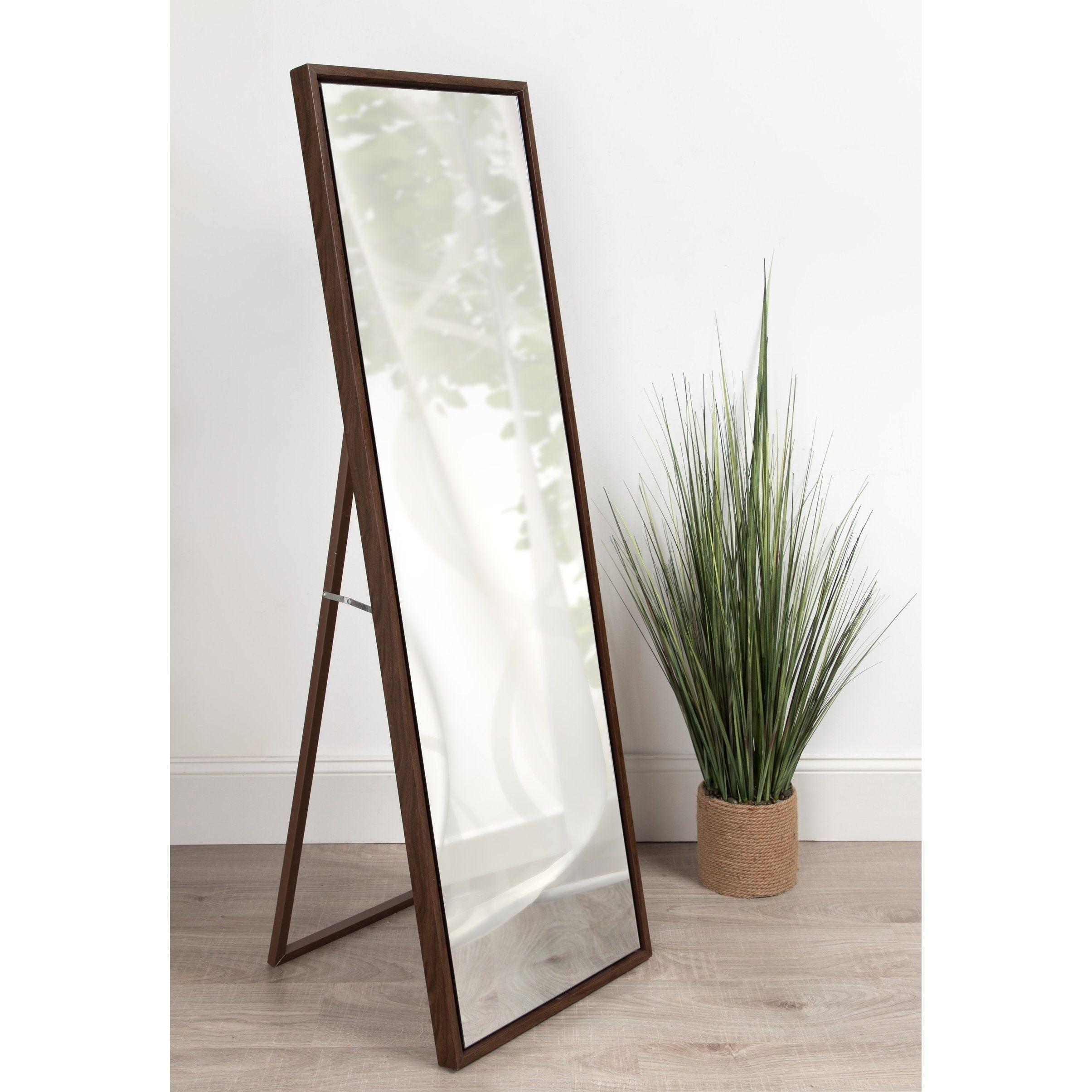 Carbon loft beckman wood framed freestanding mirror