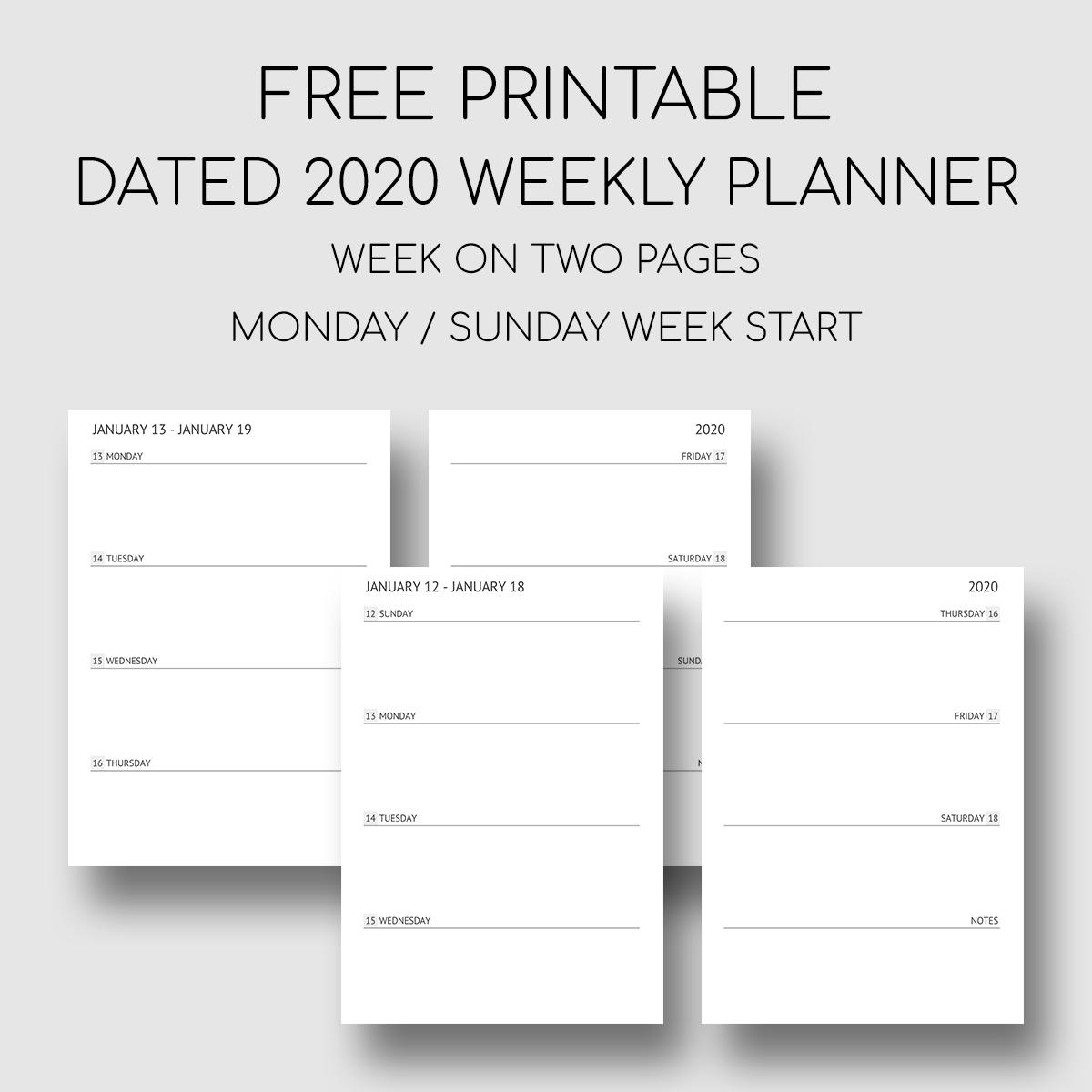 Printable Dated 2020 Weekly Planner Weekly Planner Free Printable Weekly Planner Template Weekly Planner Printable