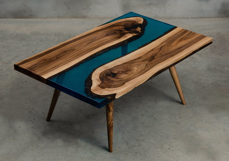 Custom Epoxy Resin Table Made Of Walnut Wood Blue Uv Resin Etsy In 2021 Resin Table Epoxy Resin Table Walnut Wood Living room table handmade